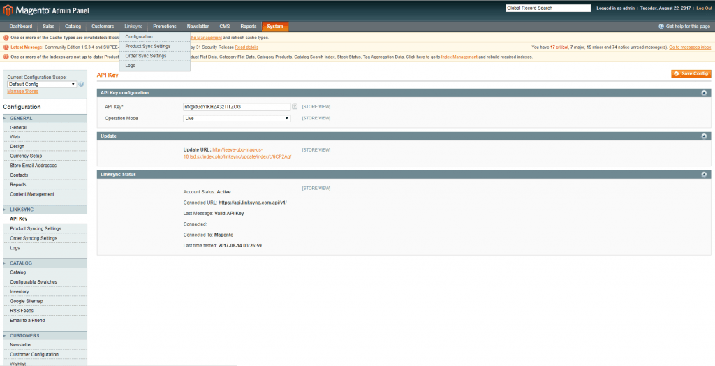 linksync menu on magento